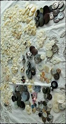 589 Antique Mother Of Pearl Buttons •  Many Carved • Whistles • Very Iridescent