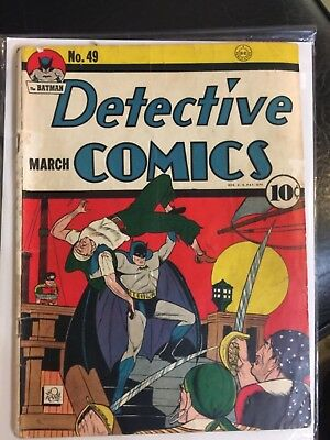 Rare 1941 Golden Age Detective Comics #49 Classic Cover Wow