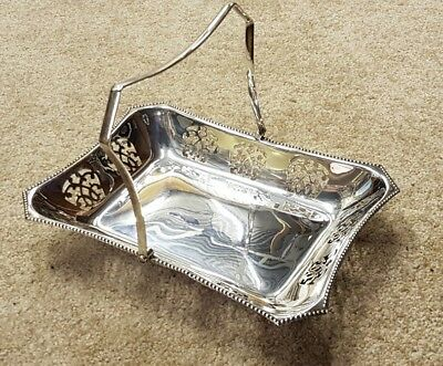 Antique vintage silver plated serving dish handle pierced metal dinner party