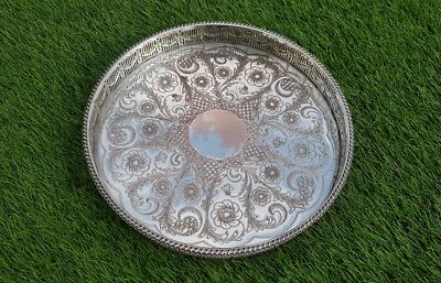 """12"""" vintage Viners silver plated drinks chased gallery serving tray cocktails"""