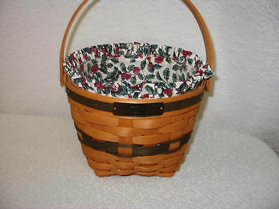 SU HOLLY BERRY LINER ONLY for 1994 JINGLE BELL CHRISTMAS BASKET NIB