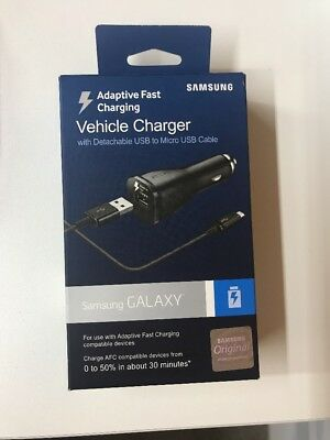 Samsung OEM ADAPTIVE Fast Rapid Car Charger  S7 E/  S6 Note 4 Note 5-ORIGINAL