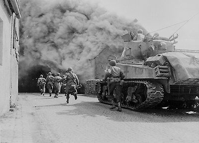 US Army M4 Sherman in Action Photo WWII WW2 D-Day World War Two / WW2-120