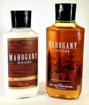 Bath & Body Works Mahogany Woods for Men Lotion 2 in 1 Hair + Body Wash 2 Pc Set