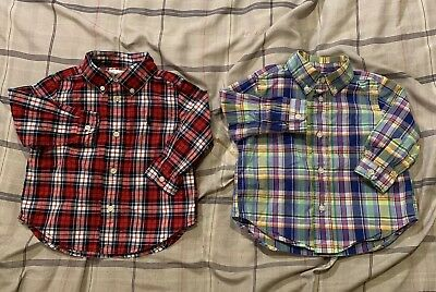 Polo Ralph Lauren Toddler Boys Button Down Shirts Lot Plaid Long Sleeve Size 9M