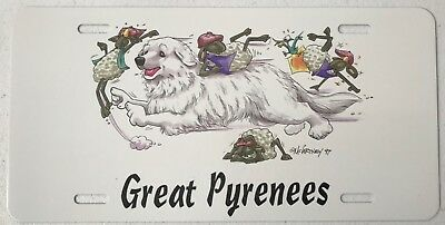 Comical Great Pyrenees Dog license plate 1997 McCartney art Dawg Plates