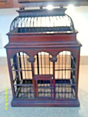 """Large Decorative Wood Bird Cage with Lid and 2 Wooden birds 18 x 12"""""""