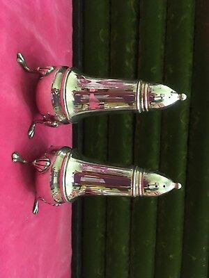 Crown Sterling Silver Claw Footed Salt & Pepper Shakers Glass Inserts