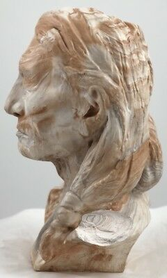 Vtg INDIAN CHIEF BUST HEAD STATUE M Swirl LAYERED CLAY RESIN 40 Lbs Sitting Bull