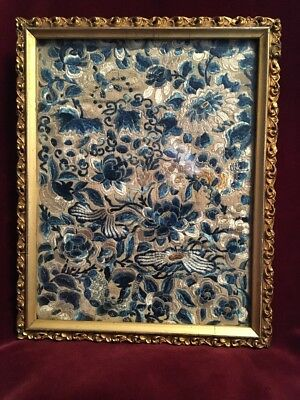 Framed Fragment Of Antique Chinese Embroidery