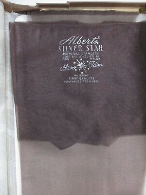 "1Pr Vintage Albert's Micro Mesh Rht Sheer Nylon Stockings Size 9 Med 32"" Black"