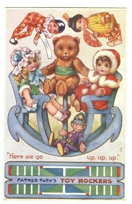 """Art: Bowley. Pub: Tuck Toy Rockers 3399 with Teddy Bear. Cut-out. """"Here We Go"""""""