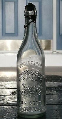 Antique COTTON & MAAG Light Green Blob Top Beer Bottle-153&155 ALBANY ST.,BOSTON