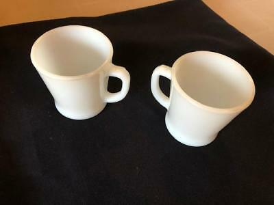 Vintage 2 Anchor Hocking Fire King D Handle Milk Glass Coffee Cups Mugs