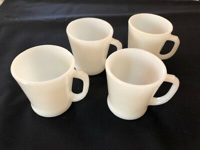 Vintage 4 Fire King D Handle Milk Glass Coffee Cups Mugs