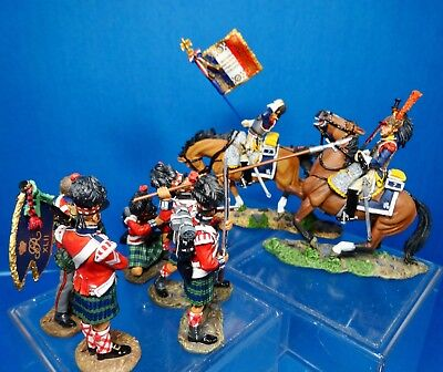 king &country 54mm napoleonic French & Scottish at Waterloo 7 figs2007 used RARE