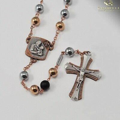 Saint Joseph Rosary in Antique Copper with Hematite Beads  Made in Italy