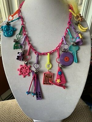 Vintage New 80's Plastic Bell Charm Necklace Retro Party Koala Key 1980