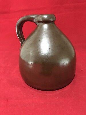 Antique Small Brown Crock Jug with Handle