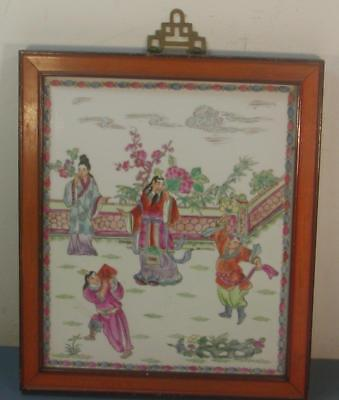 Antique Old Chinese Asian Republic Period Famille Rose Porcelain Panel Framed