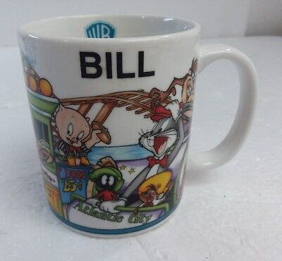 Vintage Warner Bros Looney Toons Tunes Bill Mug Atlantic City Coffee Cup 1998 WB