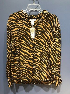 Womens Size 8 Silk Blouse, Vintage Style & Co. Tiger Stripe, NWT