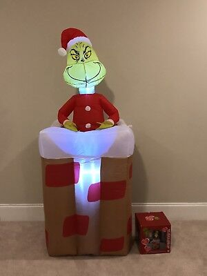 Gemmy Christmas Airblown Inflatable Grinch Chimney Animated Blow Up Yard Decor