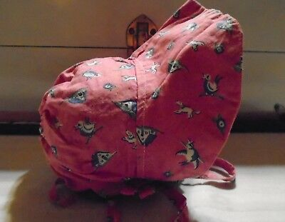 Vintage~1940's Baby~Infant~Bonnet~Pink~Blue Ducks~ Puppies~Feed Sack Fabric