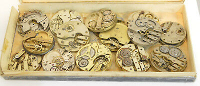 Good Lot Antique & Vintage Pocket Watch & Cylinder movements 4 spares or repair