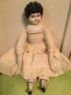 "SWEET 17"" antique  Reproduction signed (5) on Shoulder china head brunette doll"