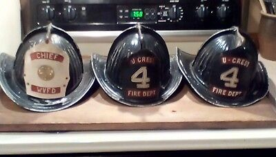 Cairns & Brother Fireman Helmets Lot of 3 Antique with Tags and Hardware