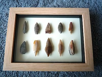 Neolithic Arrowheads in 3D Picture Frame, Authentic Artifacts 4000BC (0866)