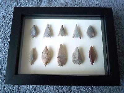 Neolithic Arrowheads in 3D Picture Frame, Authentic Artifacts 4000BC (0875)