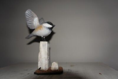 vintage wood carving black-capped Chickadee  by Stan Sparre Cape Cod Ma