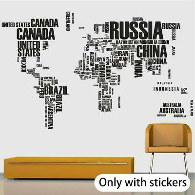 97a53fae69c Letter World Map Removable Vinyl Decal Art Mural Home Decor Room Wall  Stickers