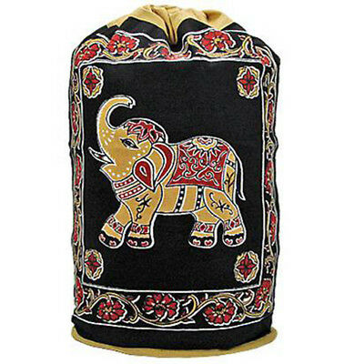 NEW Elephant OM Ohm Zen Backpack Yoga Pilate Gym 100% Cotton Drawstring Tote Bag