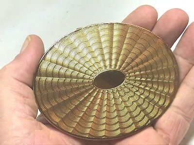 Vintage Zenette Powder Compact. Golden Oval, Machine Etched. Unused Beauty!