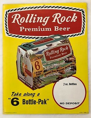 1973 ROLLING ROCK BEER 6-Pack Bottle Advertising Store SIGN Cardboard Vintage