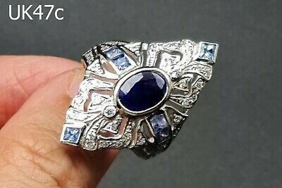 Victorian Style GENUINE Sapphire Gemstone & Crystal Silver Ring #UK47