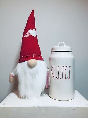 New Rae Dunn RED KISSES Valentines Day Canister & GNOME - Hard To find