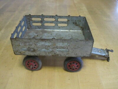Vintage Marx Pressed Steel Stake Wagon With Original Tongue & Wooden Wheels