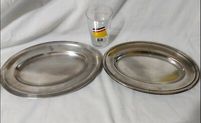 Hamburg American Line Rare Pair Of Silver Plated Serving Trays & Measuring Glass