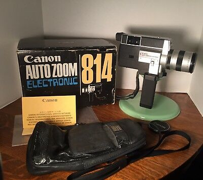 Canon AUTO ZOOM Electronic Super 8 CINE 814 Camera In Box Vintage W/Papers Movie
