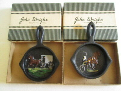 "Lot Of 2  ""John Wright Cast Iron Amish Buggies Frying Pans""  New / Old In Boxes"
