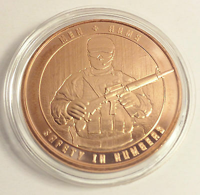 """1 OZ Pure 999.0 Copper Bullion Coin """"Men + Arms"""" Safety in Numbers series"""