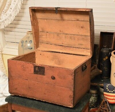 """1700-1800""""s Domed Blanket Chest Trunk Salmon Red Old Nails Wrought Iron Handles"""