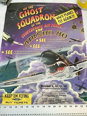 Confederate Air Force Poster Ghost Squadron CAF 1980 Airsho Flyer Air Fiesta RGV
