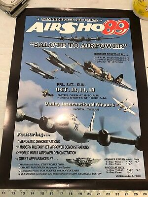 Confederate Air Force Poster Ghost Squadron CAF 1989 Airsho Flyer Air Fiesta RGV