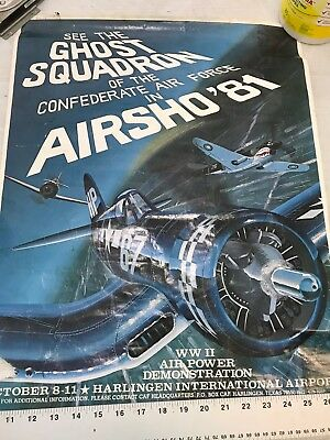 Confederate Air Force Poster Ghost Squadron CAF 1981 Airsho Flyer Air Fiesta RGV