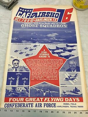Confederate Air Force Poster Ghost Squadron CAF 1976 Airsho Flyer Air Fiesta RGV